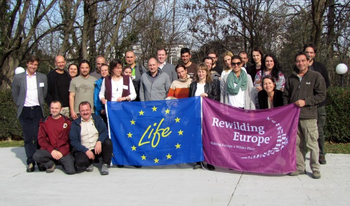 Rewilding Europe team members and partners from LIFE Vulture and LIFE Bison projects at the kick-off meeting in Haskovo, Bulgaria.