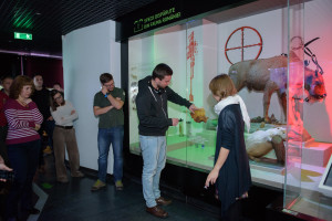 "Bison ranger marking the locations of bison habitats on the map of Romania placed on the ""Extinct species"" window."